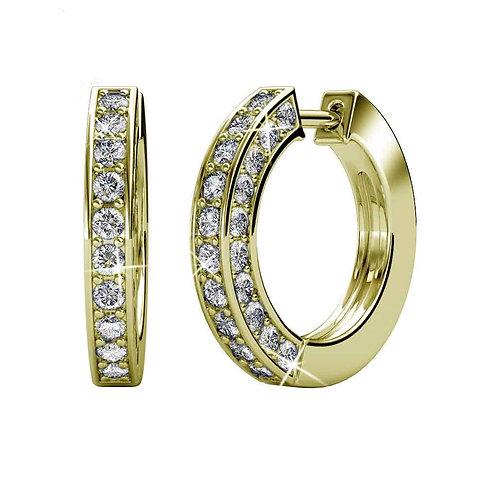 Gold Huggie Hoop Earrings with Swarovski crystals