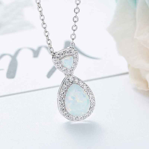 Opal necklace - Swarovski crystal and 925 Sterling Silver