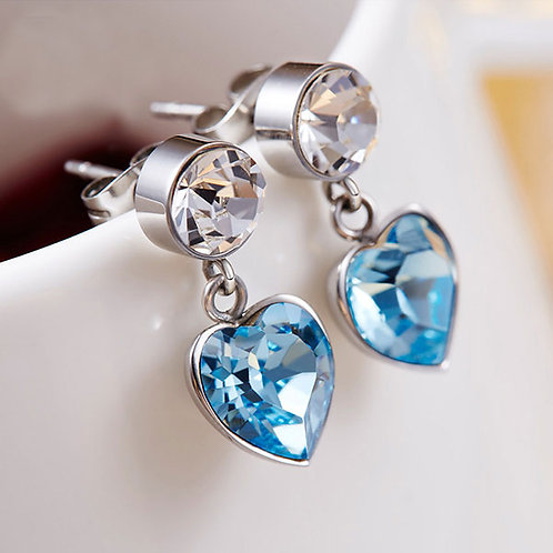 925 Sterling Silver Stud Earrings with Swarovski Crystals