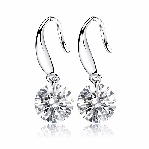 Silver Earrings with CZ diamond crystals