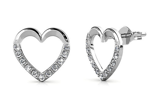 18K white gold heart earrings with Swarovski crystals
