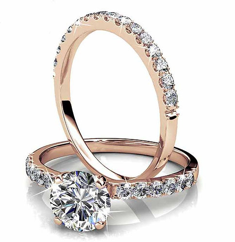 Size 9 - Rose Gold plated engagement and wedding set