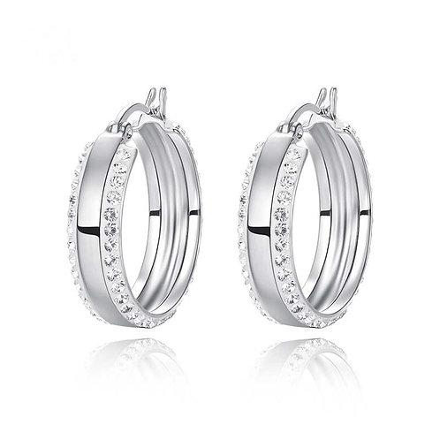 925 Sterling Silver Hoop Earrings with Swarovski crystals