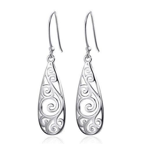 925 Sterling Silver drop earrings with Koru design