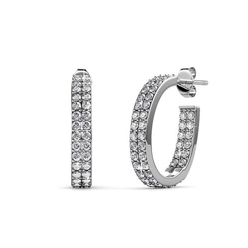 18K White Gold Plated Earrings with Swarovski Crystals