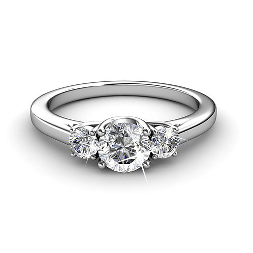 18K White Gold plated dress style ring - Size 7