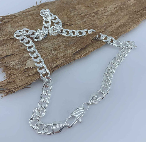 925 Sterling Silver Plated Curb Chain