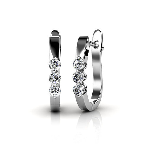 18K White Gold Huggie Earrings Swarovski Crystals