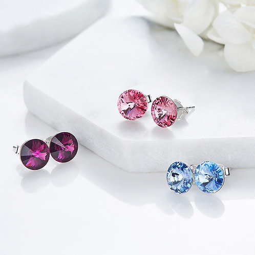 925 Sterling Silver Stud Earrings with Swarovski