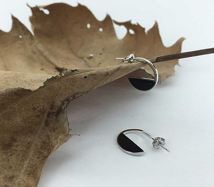 925 Sterling Silver and black earrings