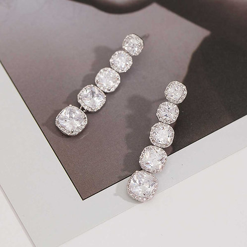 CZ Diamond Crystal Drop Earrings