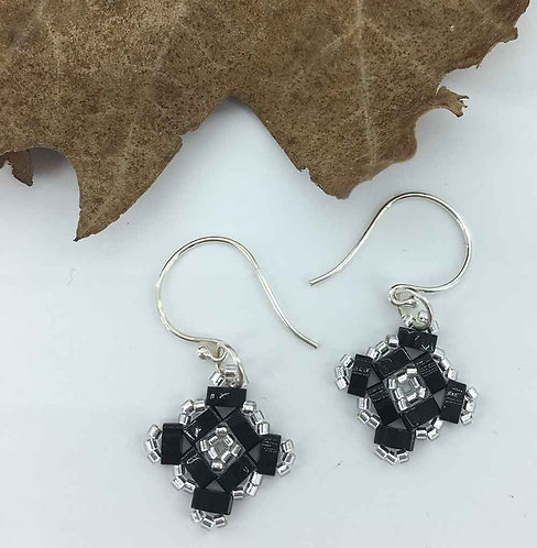 Black Miyuki bead earrings