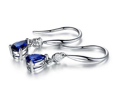 925 Sterling Silver plated earrings with CZ Blue Diamonds
