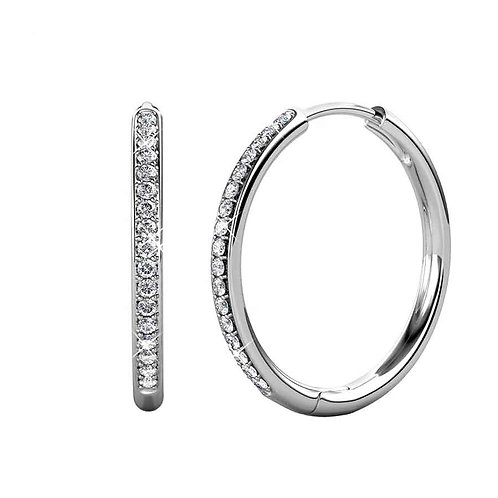 White Gold Plated Hoop Earrings with Swarovski crystals