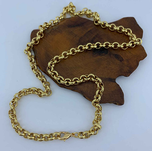 18K Gold plated Rolo chain- 5.7 mm links - 50 cm long