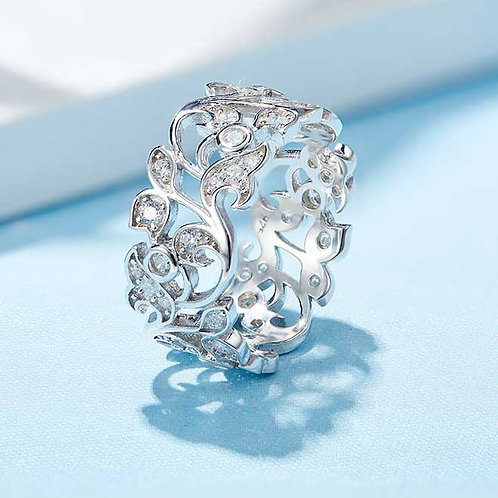 925 Sterling Silver plated filigree ring - Size 8