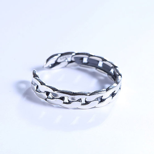 925 Sterling Silver plated chain ring - adjustable