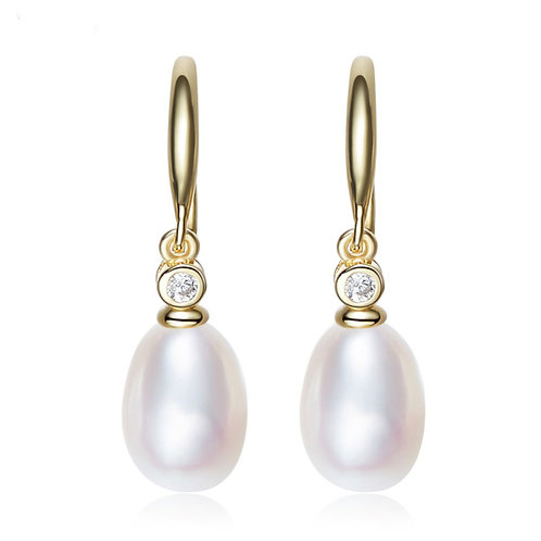 18K Gold Plated Earring with freshwater pearl and Swarovski crystal