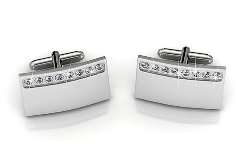 Stainless Steel cufflinks with Swarovski crystals