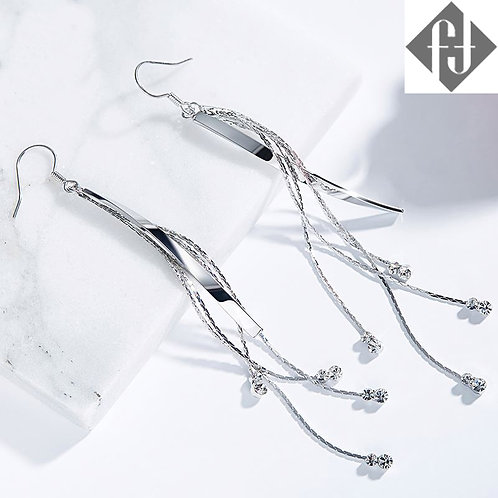 Long Silver Tassel Earrings
