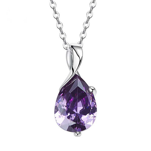 925 Sterling Silver plated with Amethyst Swarovski crystal