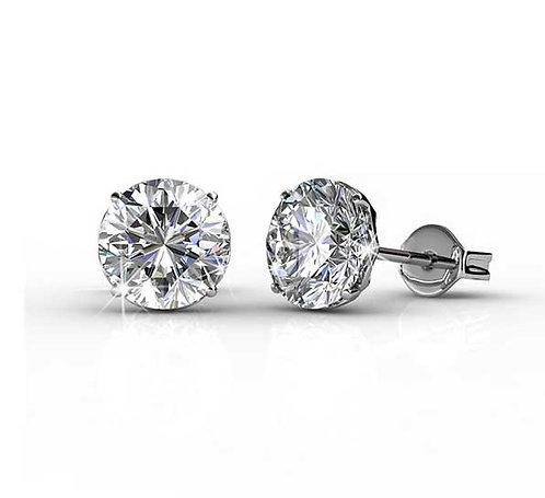18K White Gold Stud Earrings - 6 mm Swarovski Crystals