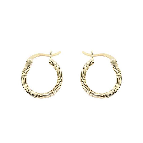 Gold plated twist earrings over 925 Sterling Silver
