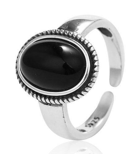 925 Sterling Silver adjustable ring with Black Onyx stone