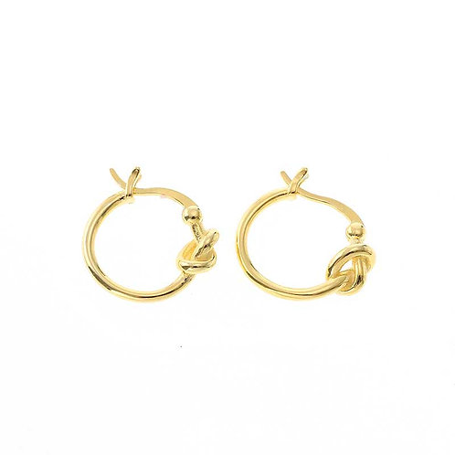 Gold Plated huggie earrings with a knot