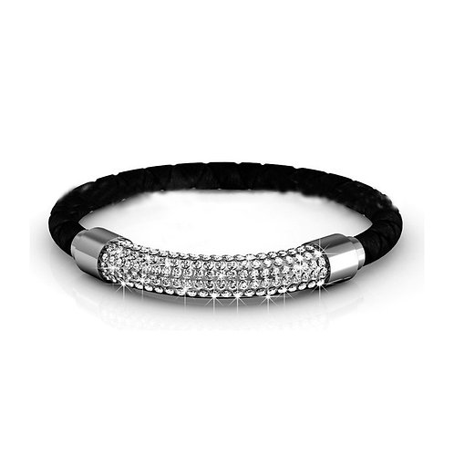 Black leather bracelet with Swarovski crystals