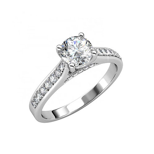 Size 8 - 18K White Gold plated engagement style ring