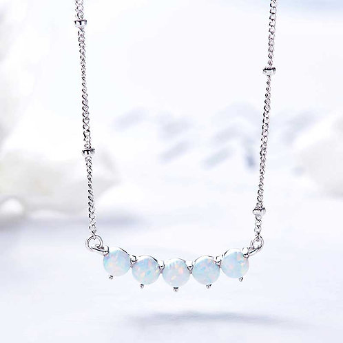 Opal necklace on silver beaded chain