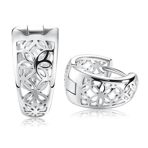 Silver huggie earrings with open filigree work