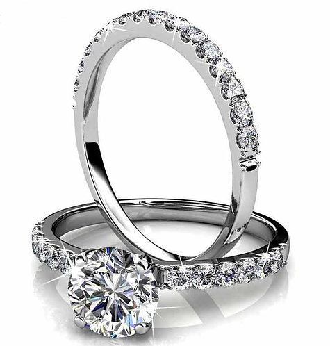 Size 8 - 18K White Gold plated engagement and wedding set