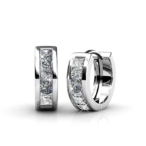 18K White Gold plated huggie earrings with Swarovski crystals