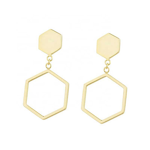 18K Gold earring over 925 Sterling Silver Geometric style