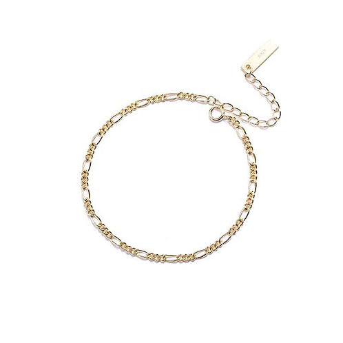 18K Gold plated chain Bracelet over 925 Sterling Silver