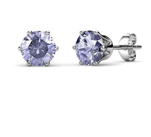 18K white gold stud earrings with Swarovski