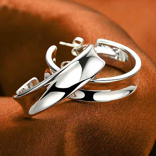 hoop huggie silver earrings