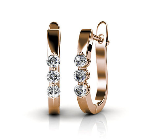 Rose-gold huggie earrings with Swarovski crystals