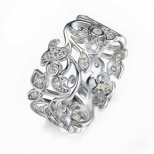 925 Sterling Silver plated filigree ring - Size 7