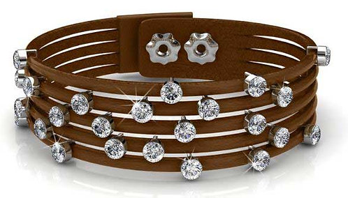 Brown leather wrap bracelet with Swarovski crystals