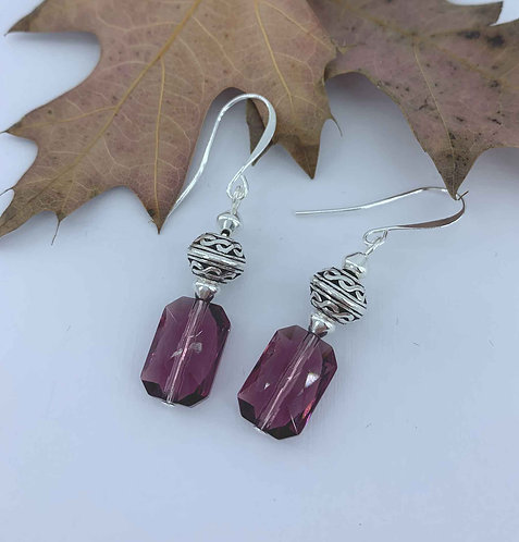 Silver dangle earrings with amethyst Swarovski crystals