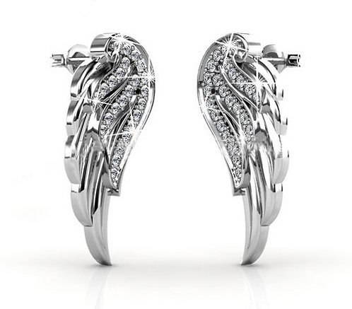 18K White Gold wing earrings with Swarovski crystals