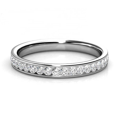 Size 7 - 18K White Gold plated eternity style ring