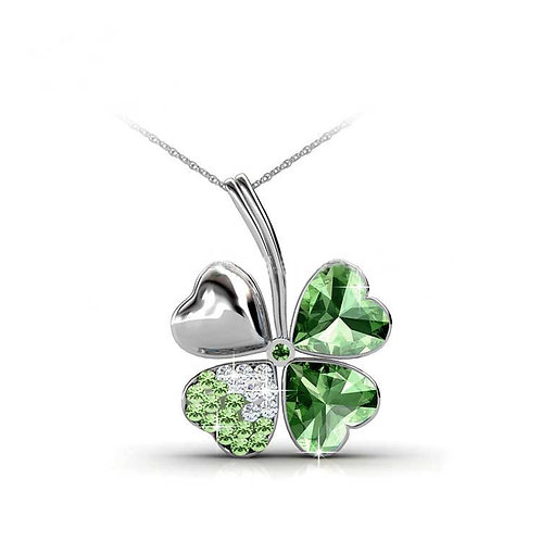 Necklace - 18K White Gold with Swarovski crystals - four leaf clover