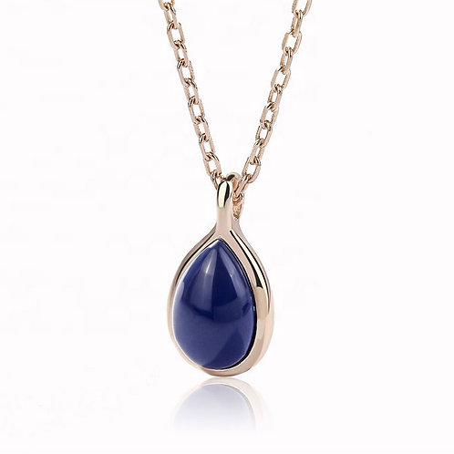 Rose-gold Necklace with Navy stone