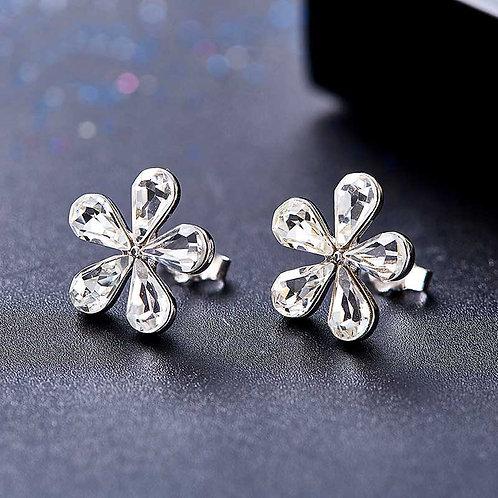 925 Sterling Silver flower earrings with Swarovski