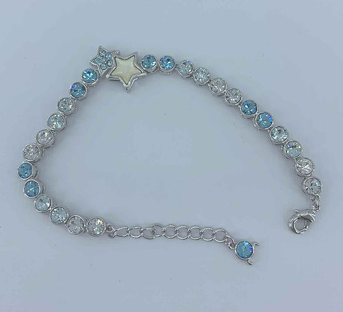 Silver bracelet - Blue and crystal Swarovski