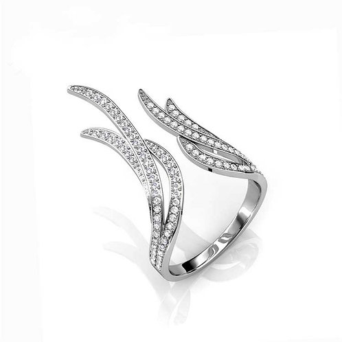 SIZE 8 - 18K White gold plated ring with Swarovski crystals